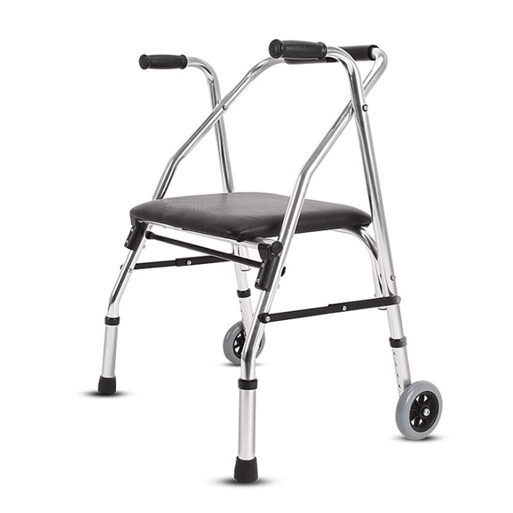 高齢者折り畳み式歩行器、シート式車輪付き4脚式杖リハビリ支援ツール調節可能な高さ   B07LBRNSM8
