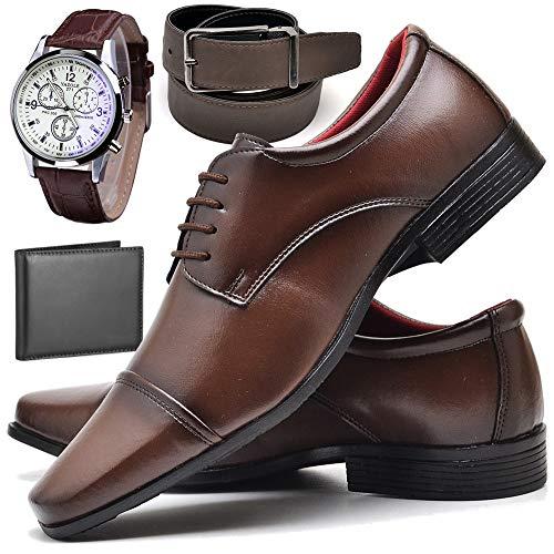 Kit Sapato Social Com Relógio Cinto Carteira Verniz Com Cadarço ZARU R807DB Tamanho:37;cor:Marrom;gênero:Masculino