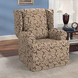 Sure Fit Scroll - Wing Chair Slipcover  - Brown (SF36213)