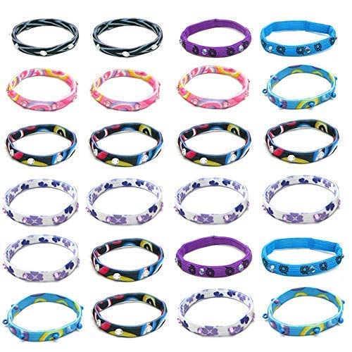 24 Pcs Hair Tie Ponytail Holder Bracelets for Girls, Kids, Teens - Elastic Hair Ties - Stretch Bracelets with Cute Patterns and Stones - Great Gifts and Party Favors, Stocking Stuffers