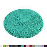 MAYSHINE Round Bath Mat Non-Slip Chenille 3ft Shaggy Bathroom Rugs Extra Soft and Absorbent Perfect Plush Carpet for Living Room Bedroom, Machine Wash/Dry-Turquoise