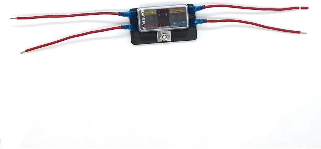 MonkeyJack Automotive 4-Way ATO Fusebox Fuse Holder Block with Fuses Terminals