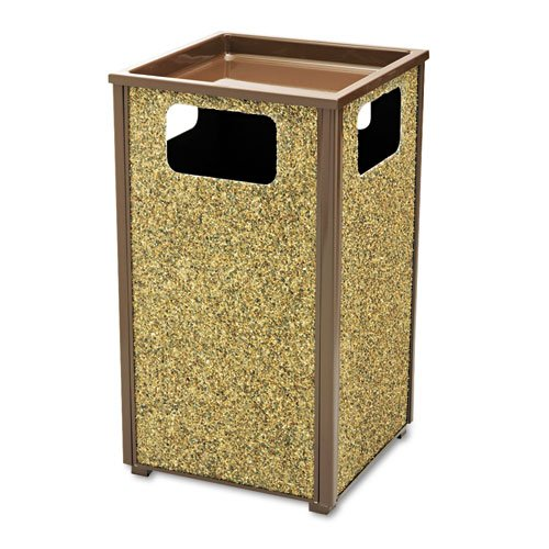 Rubbermaid Commercial Aspen Series Sand Urn/Litter Receptacle, Square, Steel, 24 gal, Brown - Includes one each.