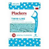 Plackers Twin-Line Dental Floss Picks, 75 count (Pack of 4)