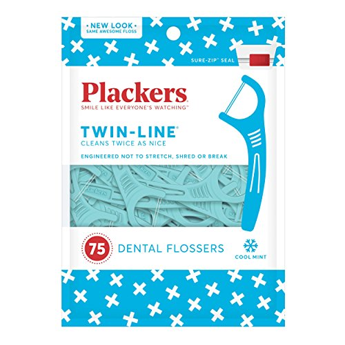 Plackers Twin-Line Dental Floss Picks, 75 count (Pack of 4) by Plackers