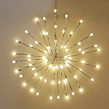 EAMBRITE Wrapped Lighted Twig Starburst With 72LT Warm White LED Bulbs For Outdoor And Indoor Use Silver