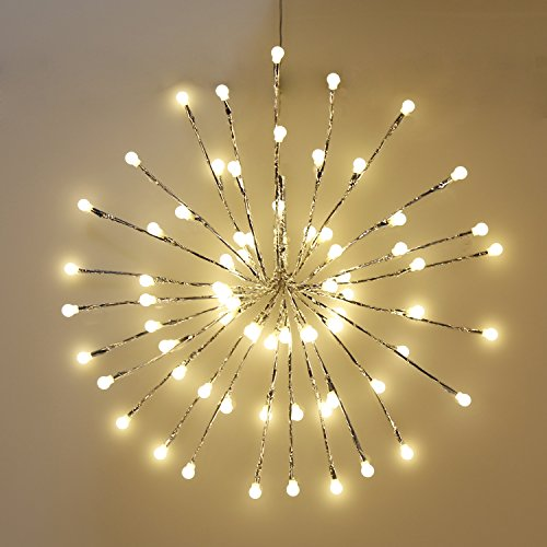 EAMBRITE Wrapped Lighted Twig Starburst with 72LT Warm White LED bulbs for outdoor and indoor use (silver)