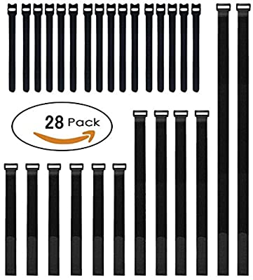 Cable Ties and Cable Straps Set, 28-pack 4 Size Reuseable Hook and Loop Fastening Straps for Cord Management - Black