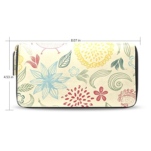 Flower Hand Painted Leather Wallet - 9