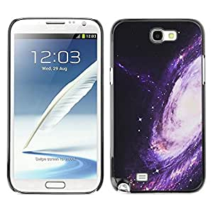 FECELL CITY // Duro Aluminio Pegatina PC Caso decorativo Funda Carcasa de Protección para Samsung Note 2 N7100 // Way Purple Space Universe Cosmos