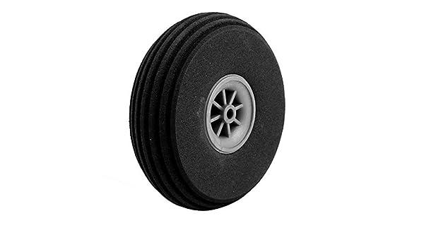 eDealMax Modelo Negro Plano de goma esponja 76mm x 23mm Rueda DE 4 mm Diámetro del eje aviones de RC: Amazon.com: Industrial & Scientific