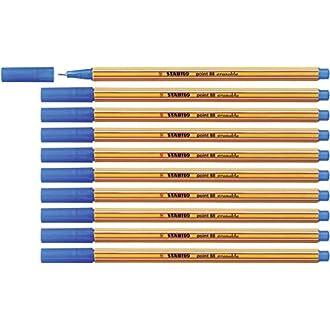 STABILO point 88 - Bolígrafo de punta fina (tinta borrable, 10 unidades, estuche plegable), color azul