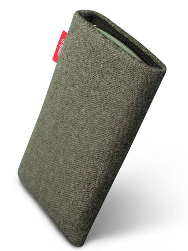 fitBAG Trachten Edelweiß Handytasche Tasche aus Textil-Stoff mit Microfaserinnenfutter für Apple iPhone 6 / 6S / 7 mit Apple Silikon Case