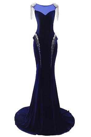 YSFS Womens Scoop Neck Mermaid Velvet Prom Dress Long Evening Dress Gowns UK6