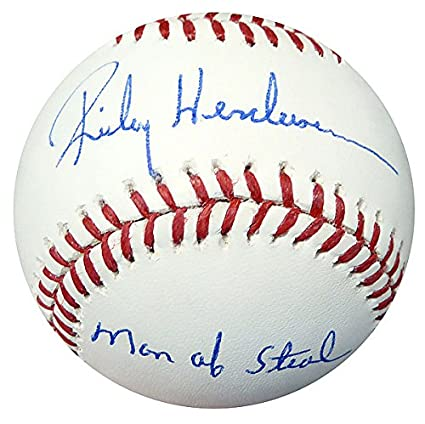 cc5ddc3d2 Rickey Henderson Signed Official MLB Baseball A s Man Of Steal In ...