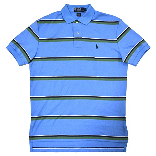 Polo Ralph Lauren Mens Classic Fit Interlock Striped Polo (S, Blue) Classic Fit Striped Rugby