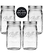 Ball Mason Jars Wide Mouth 32 oz Bundle with Non Slip Jar Opener brand BHL Jars - Set of 4 Quart Size Mason Jars - Canning Glass Jars with Lids