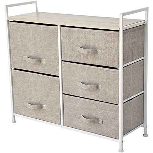 East Loft Storage Cube Dresser | Organizer for Closet, Nursery, Bathroom, Laundry or Bedroom | 5 Fabric Drawers, Solid Wood Top, Durable Steel Frame | Natural ()