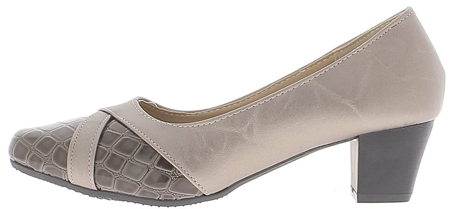 ChaussMoi Shoes Grey Woman and Mole in Small Heels 4.5 cm Comfortable Bi  Material: Amazon.co.uk: Shoes & Bags