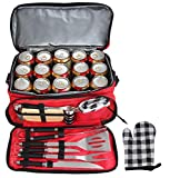 POLIGO 12pcs Stainless Steel BBQ Grill Tools Set with Insulated Waterproof Storage Cooler Bag - Premium Grilling Accessories Utensils - Complete Outdoor Grilling Kit - Birthday Gifts for Men Women