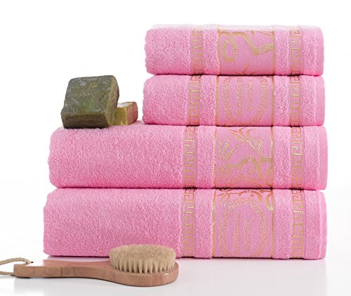 ixirhome Turkish Bamboo Towel Set Rose Pink