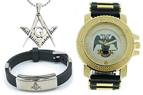 3 Piece Jewelry Set - Freemason Pendant, Bracelet & Scottish Rite Masonic Watch. Black Silicone Band. 32nd Degree Scottish Rite Symbol. Gold Tone Face Dial Watch