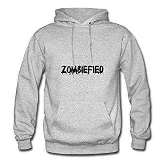 For Women Cotton Grey Designed Cool O-neck Zombiefied Hoody X-large