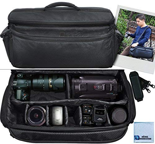 (Extra Large Soft Padded Camcorder Equipment Bag / Case For Canon XA10, XA20, XA25, XH-G1s, XL2 & More… + eCostConnection Microfiber Cloth)