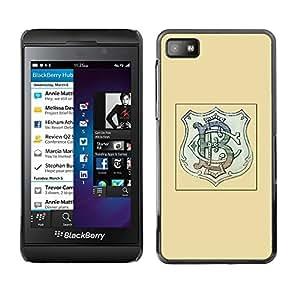 FlareStar Colour Printing Initials Logo Company Brand Shield Yellow cáscara Funda Case Caso de plástico para Blackberry Z10