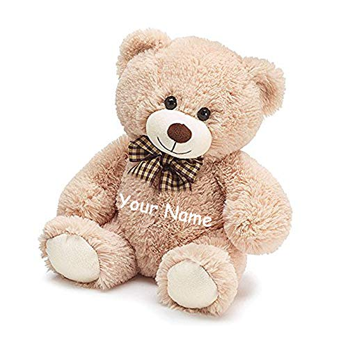 - Burton & Burton Personalized Sitting Beige Tan Teddy Bear with Brown Plaid Print Bow Plush Stuffed Animal Toy for Boys or Girls with Custom Name - 10 Inches