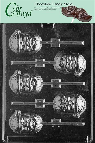 Cybrtrayd Life of the Party C069 Santa Pop  Chocolate Candy Mold in Sealed Protective Poly Bag Imprinted with Copyrighted Cybrtrayd Molding Instructions