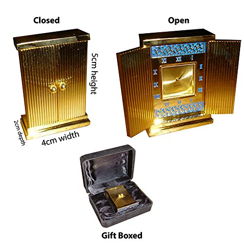 Solid brass clock with opening doors and gift box (Solid Case Brass Clock)