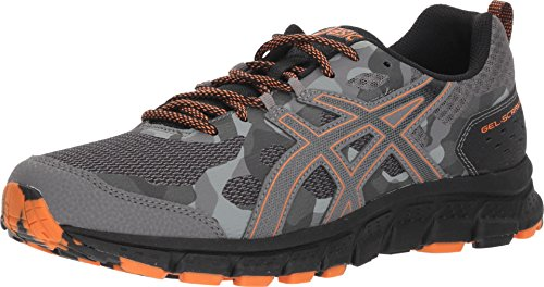 ASICS 1011A045 Men's Gel-Scram 4 Running Shoe, Carbon/Lava Orange - 14 D(M) US (Best Asics Cushioned Running Shoes)