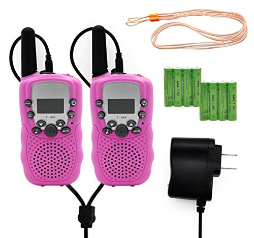 Walkie Talkies for Kids Adults 2 Way Radio with 8Pcs Rechargeable Batteries LED Light Walky Talky (Pink)