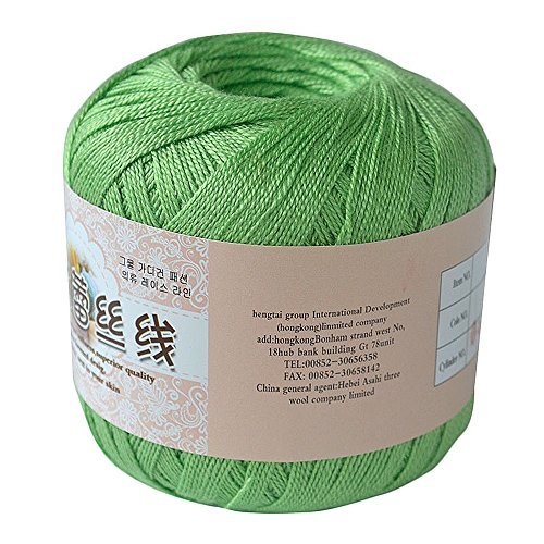 YL Cotton Mercerized Cord Thread Yarn for Sewing Crochet Embroidery Lace Knitting ,12 colors (Green)