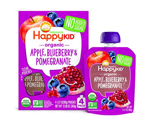 Happy Squeeze Organic Superfoods Twist Apple Blueberry Pomegranate, 3.17 Ounce Pouch (Pack of 16) Baby Toddler Kid Snack Pouch, Resealable, No Added Sugar Non-GMO Kosher (Packaging May Vary)