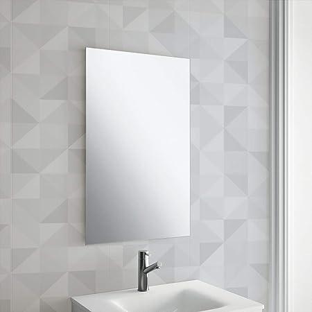 Maison & White 450x300mm Miroir Rectangle Sans Cadre | Comprend les  fixations de suspension chromées | Trous pré-percés | Miroir de salle de  bain ...