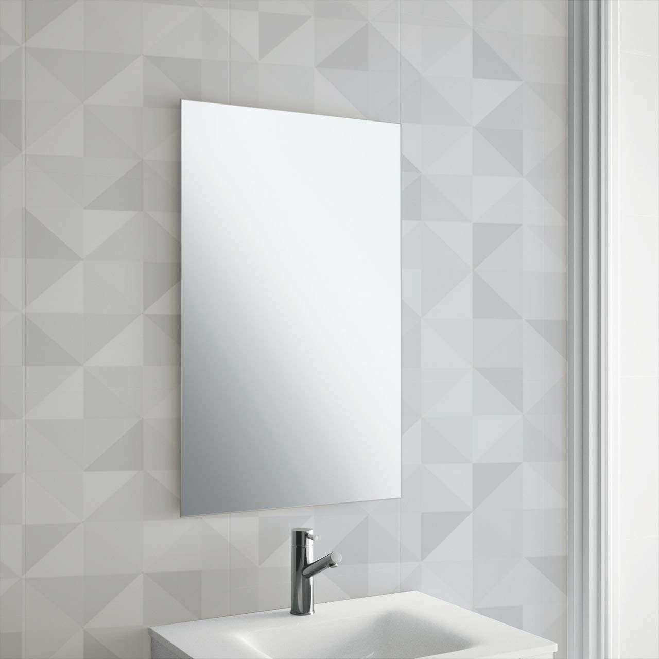 450x300mm Frameless Rectangle Mirror | Includes Chrome Cap Hanging Fixings | Pre-Drilled Holes | Wall Mounted Unframed Rectangle Bathroom Mirror | M&W Xbite