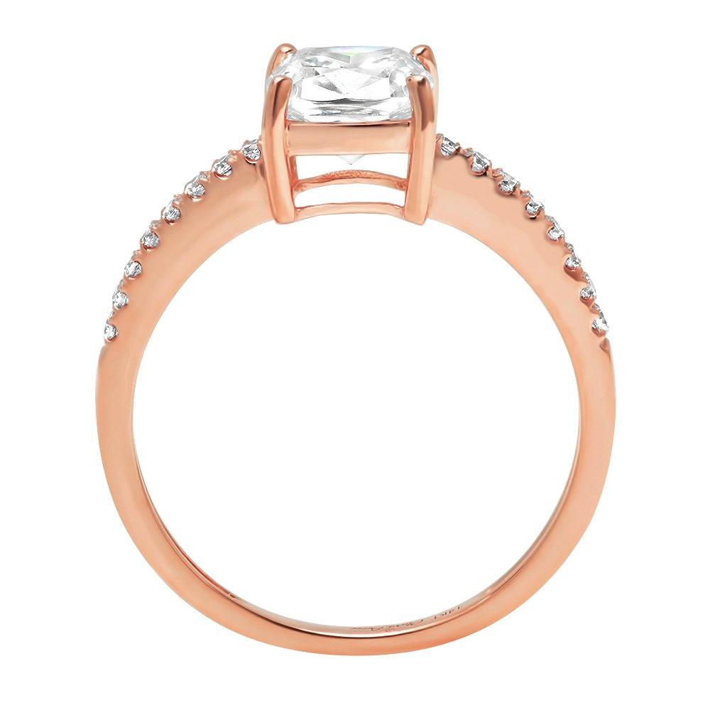 1.66ct Cushion Round Cut Classic Solitaire Designer Wedding Bridal Statement Anniversary Engagement Promise Accent Solitaire Ring 14k Rose Gold, 4.25 by Clara Pucci (Image #2)
