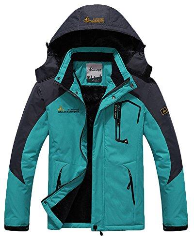 Men's Fleece Outerwear Jackets Outdoor Waterproof Coat Athletic Shell Hooded MoonBlue US L/Tag 3XL