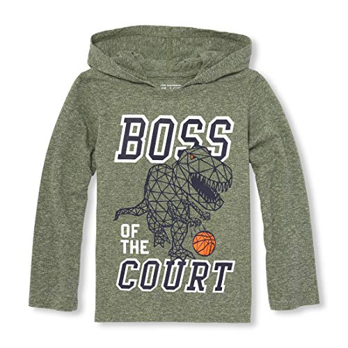 Hooded Basketball (The Children's Place Baby Boys Hooded Graphic Long Sleeve Shirts, GRASSLANDS, 5T)