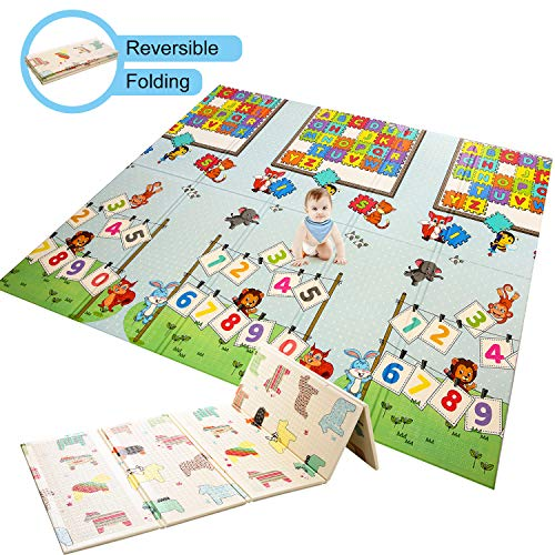Baby Play Mat Foldable Baby Playmat Extra Large Foam Mat Reversible Baby Crawling Mat, Non Toxic Waterproof for Kids Toddler Infants (ABC + Little Horse)