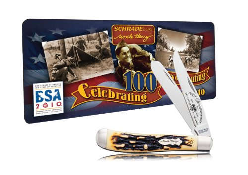 Schrade 285UHBSAT Uncle Henry Boy Scouts of America 100th Anniversary Pro Trapper with Collector's Tin