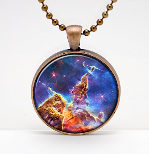 Carina Nebula Photo Art Glass Pendant or Key Chain- 30 mm round- Chain Included- Made to Order