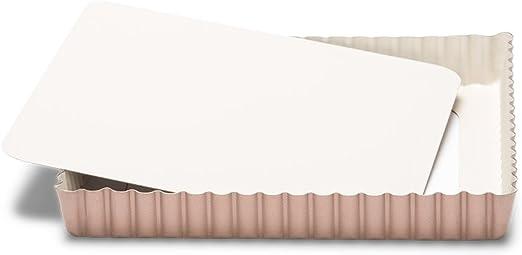 Patisse 03366 Ceramic Square Quiche Pan with Removable Bottom Non-Stick Surface Cream//Copper