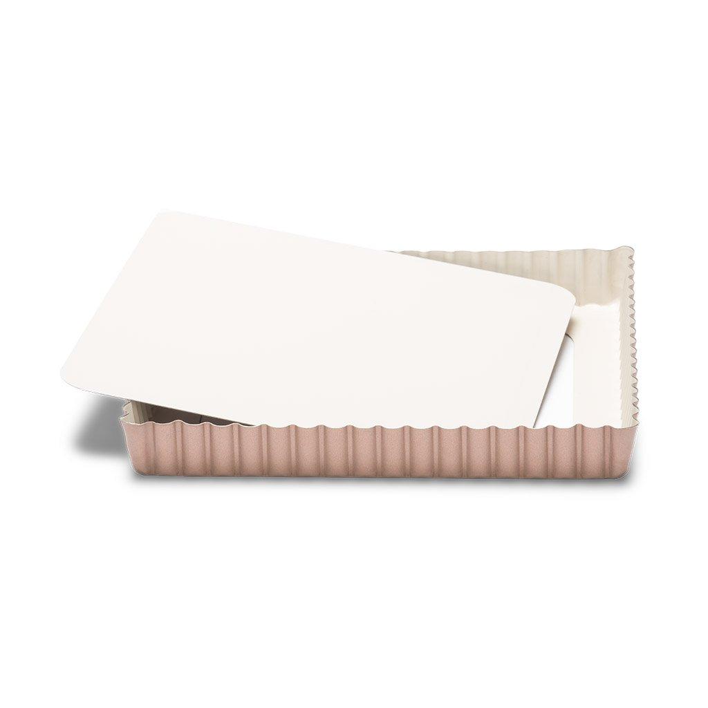 Patisse 03366 Ceramic Square Quiche Pan with Removable Bottom Non-Stick Surface, Cream/Copper