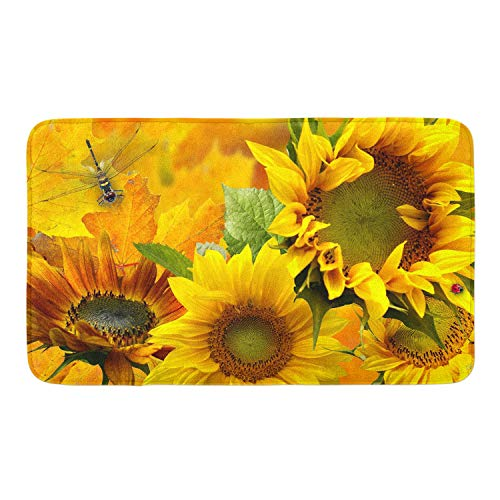Yellow Sunflower Memory Foam Bath Rugs Kitchen Mat Anti-Slip Bottom Doormat Rug Carpet, Home Decor Shower Mat Bathtub Rug - 18 x 30 -