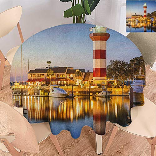 United States Round Tablecloths, Hilton Head South Carolina Lighthouse Twilight Water Reflection Boats Idyllic Circle Table Covers for Dining Room Picnic, 60