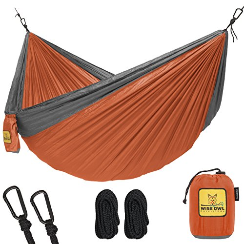 The Ultimate Double Camping Hammocks- The Best Quality Camp Gear For Backpacking Camping Survival & Travel- Portable Lightweight Parachute Nylon (Orange & Grey)