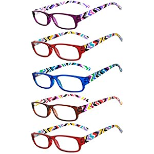 Readers 5 Pack of Elegant Womens Reading Glasses with Beautiful Patterns for Ladies Deluxe Spring Hinge Stylish Look 180 Day Guarantee +2.5